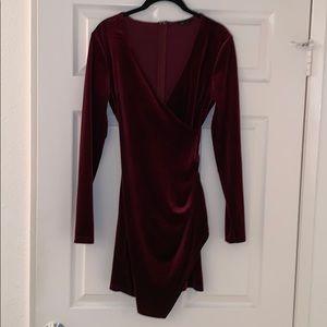 BURGUNDY VELVET WRAP DRESS SIZE SMALL. AMAZING FIT